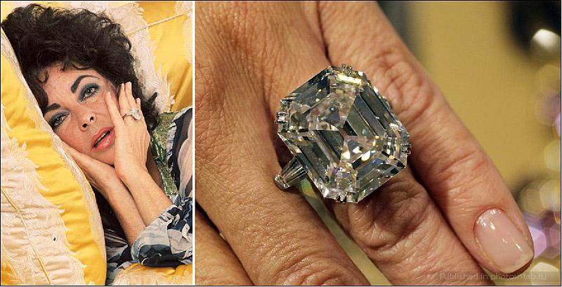 Кольцо с бриллиантом весом в 33.19 карата, – подарок Ричарда Бертона Элизабет Тейлор, сделанный 16 мая 1968 года